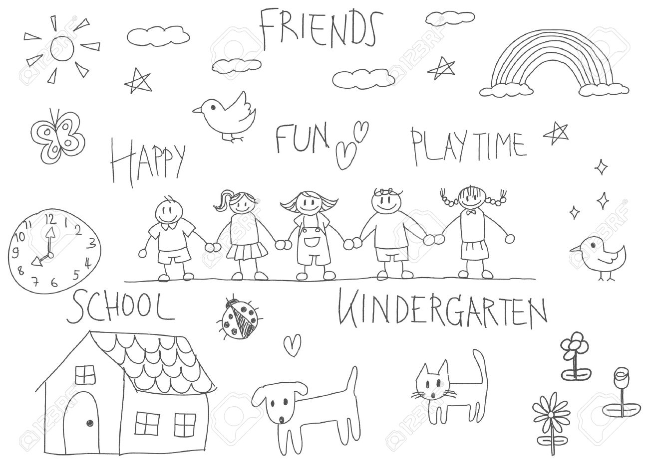 Kindergarten children pencil doodle drawing of a friend and kid imagination playing environment such as animal cat dog pet house flower rainbow and star in