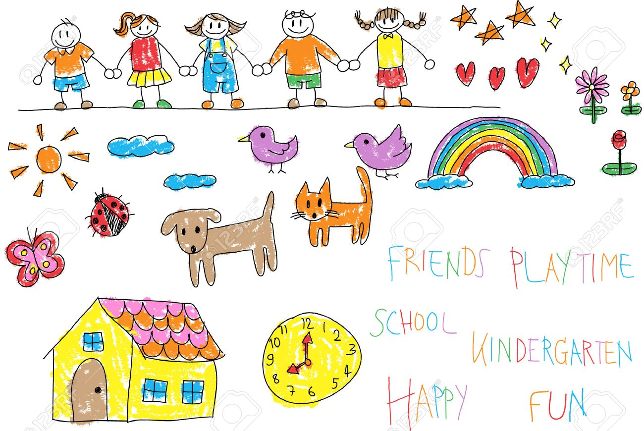 kindergarten children doodle pencil and crayon color drawing of a friend and kid imagination playing environment