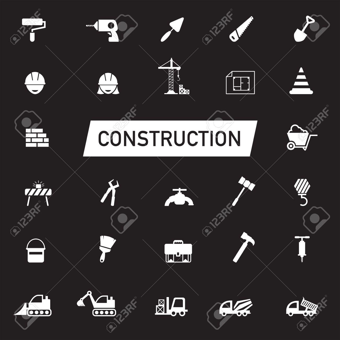White Silhouette Civil Engineering Maintenance Labor Excavator