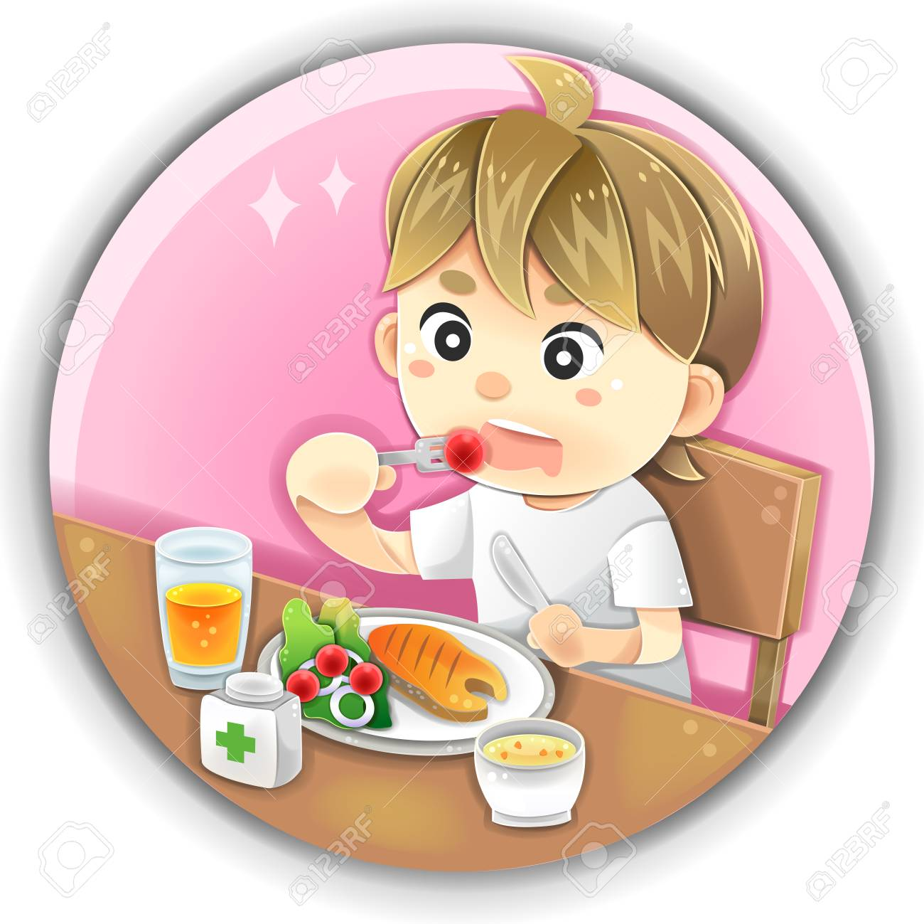 Highly Detail Illustration Cartoon Male Character Is Eating Healthy Royalty Free Cliparts Vectors And Stock Illustration Image 48486478