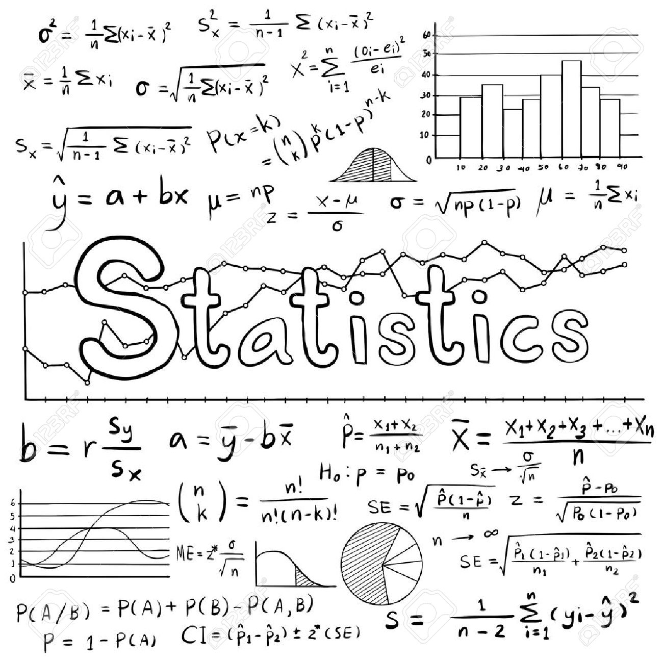 Mathematical stock photos royalty free business images statistic math law theory and mathematical formula equation doodle handwriting icon with graph chart and diagram biocorpaavc Gallery