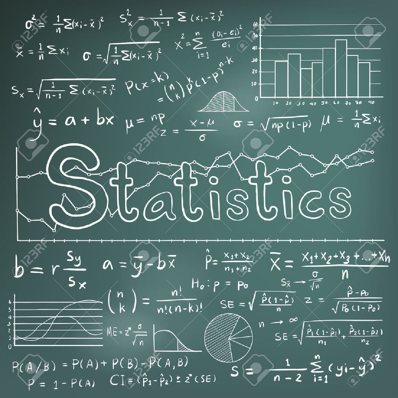 Statistic math law theory and mathematical formula equation doodle imagens statistic math law theory and mathematical formula equation doodle chalk handwriting icon with graph chart and diagram in blackboard background ccuart Images