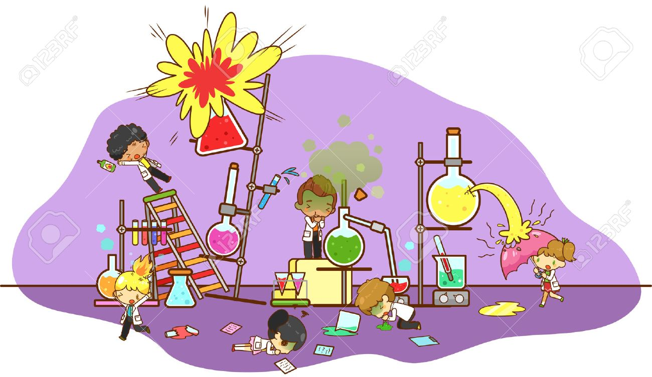 Accident and destruction while kid scientists working and experimenting in science chemistry laboratory with massive cooling tower refinery explode and toxic gas acid leakage creating bio hazard danger environment in isolated background, create by cartoon - 50228498