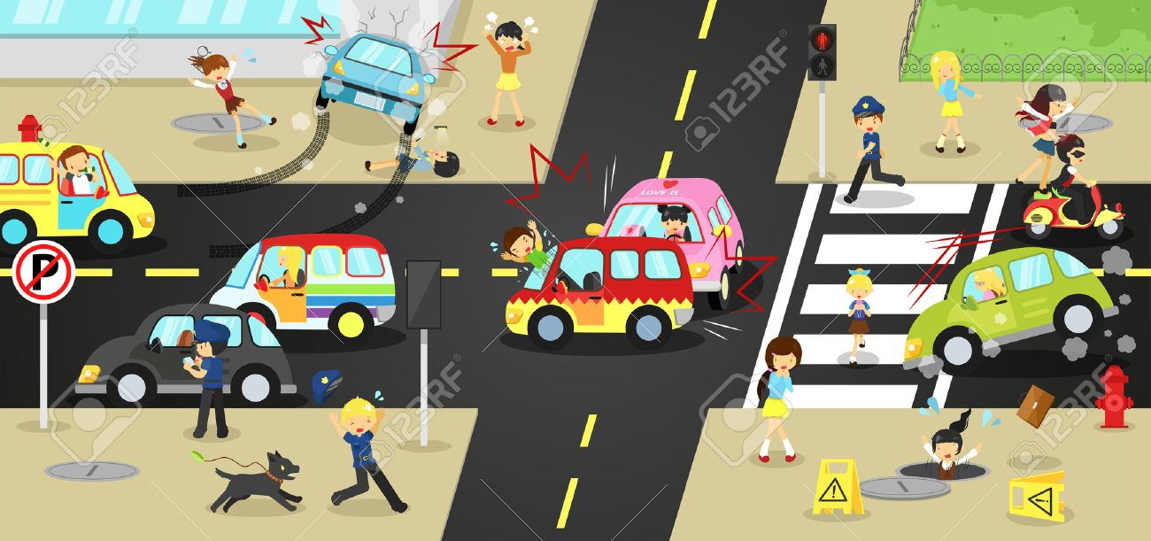 Accidents, injuries, danger and safety caution on traffic road vehicles cause by cars bicycle and careless people on urban street with sign and symbol in cute funny cartoon concept for kids, create by vector - 50228507