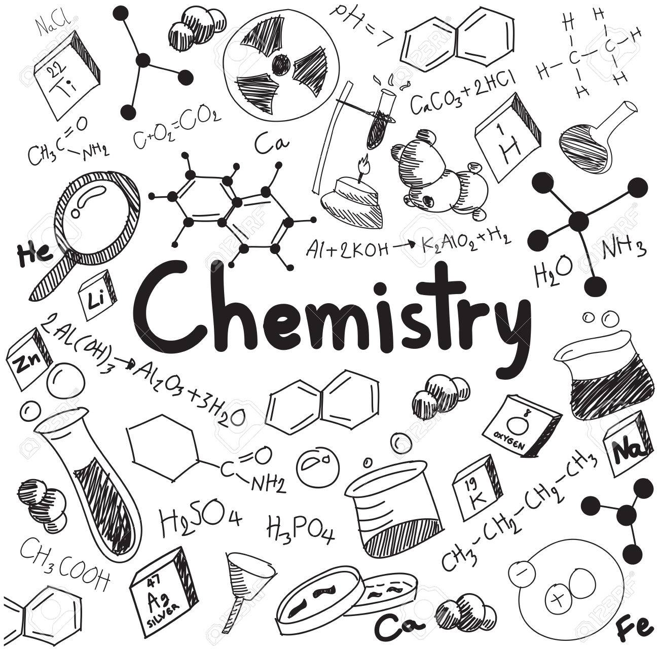 Chemistry Science Theory And Bonding Formula Equation Doodle Handwriting Tool Model Icon In White