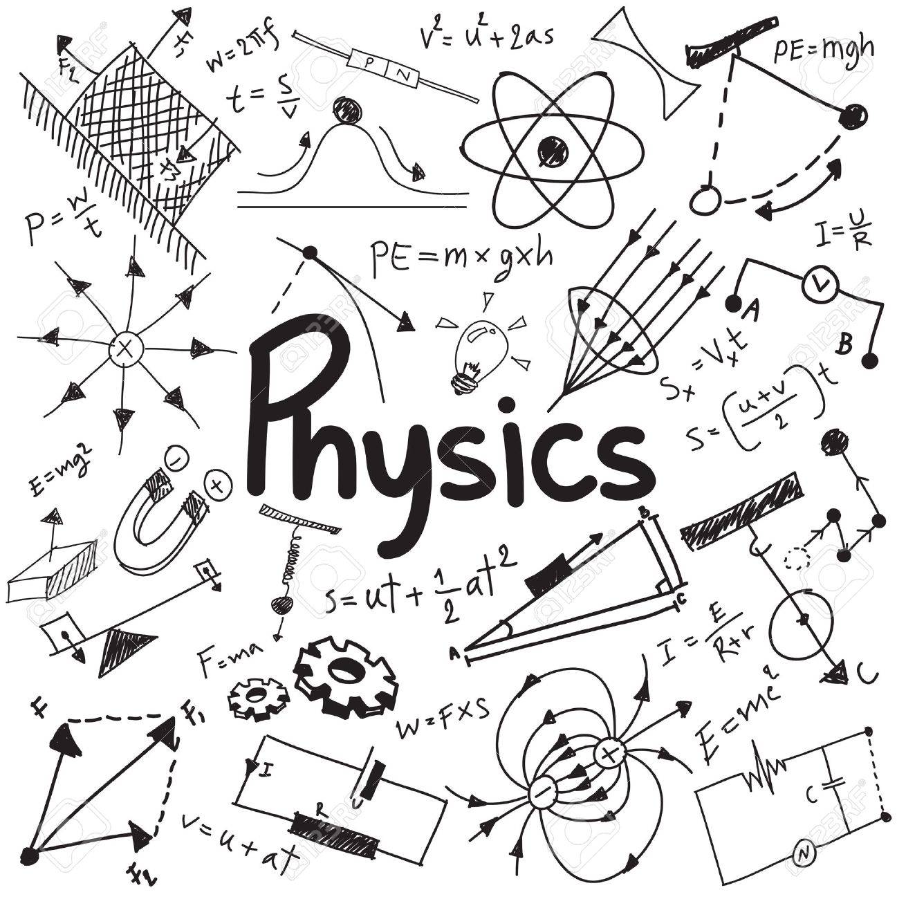 Physics science theory law and mathematical formula equation, doodle handwriting and model icon in white isolated background paper used for school education and document decoration, create by vector Stock Vector - 50745250
