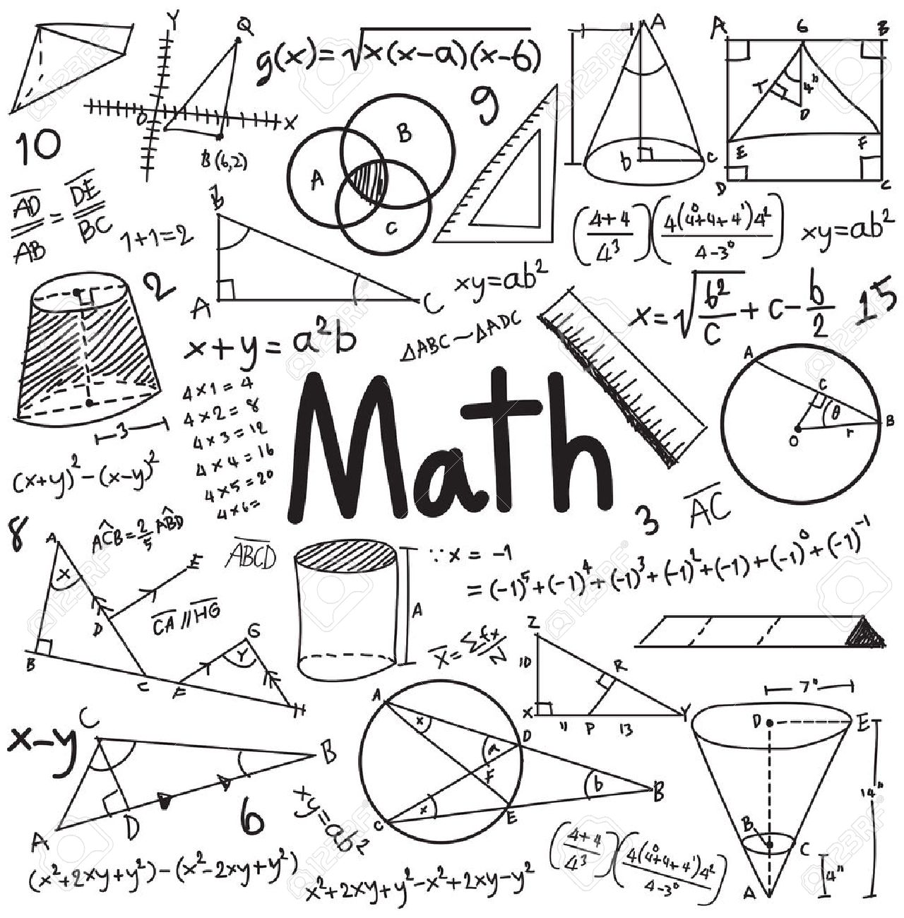 Math theory and mathematical formula equation doodle handwriting math theory and mathematical formula equation doodle handwriting icon in white isolated background with hand drawn ccuart Image collections