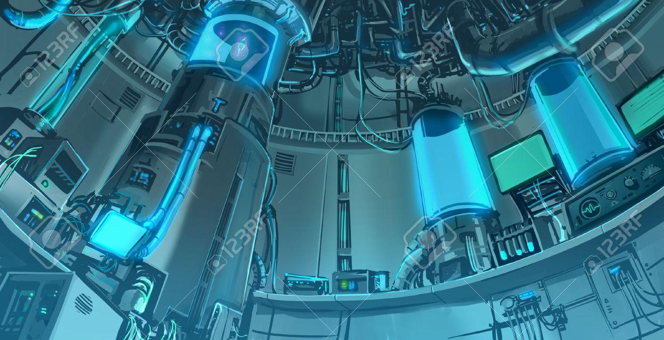 Cartoon Illustration Background Scene Of Massive Science Laboratory In  Futuristic And Sci Fi Fantasy Interior