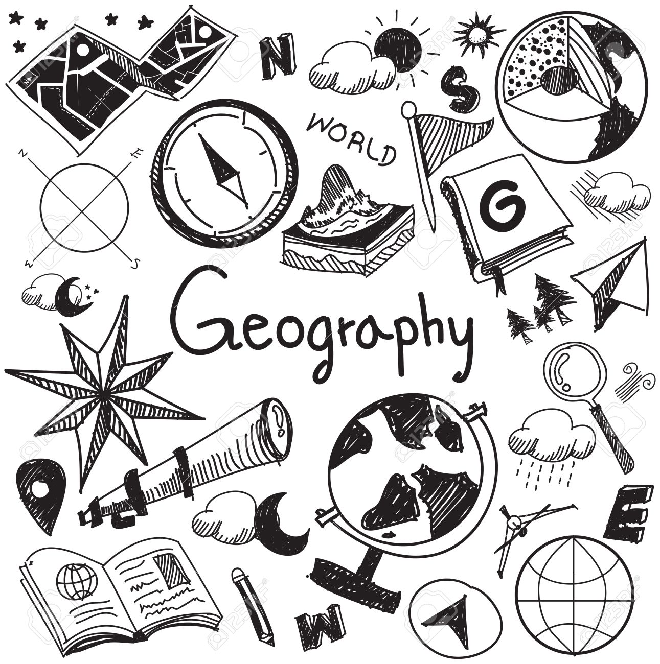 Geography and geology education subject handwriting doodle icon of earth exploration and map design sign and symbol in white isolated background paper used for presentation title with header text, create by vector - 51173761