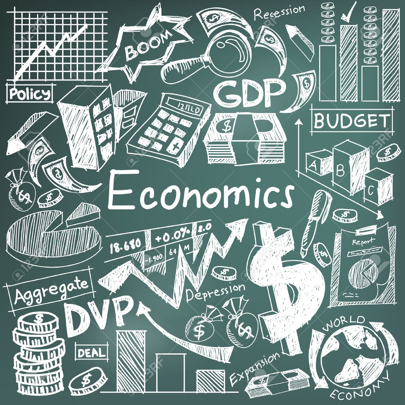 Economics and financial education chalk handwriting doodle icon of banknote, money currency, investment profit graph, and cost analysis sign and symbol in blackboard background used for presentation title with header text, create by vector - 51519619
