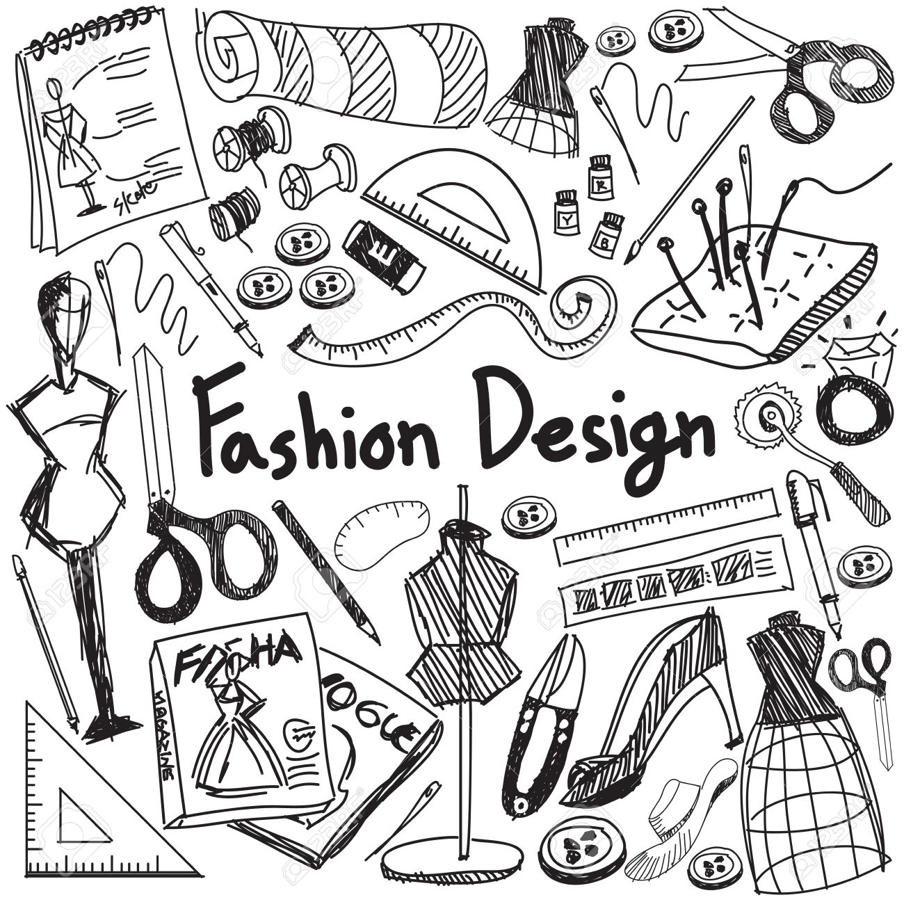 Fashion Design Education Handwriting Doodle Icon Tool Sign And Royalty Free Cliparts Vectors And Stock Illustration Image 52658899