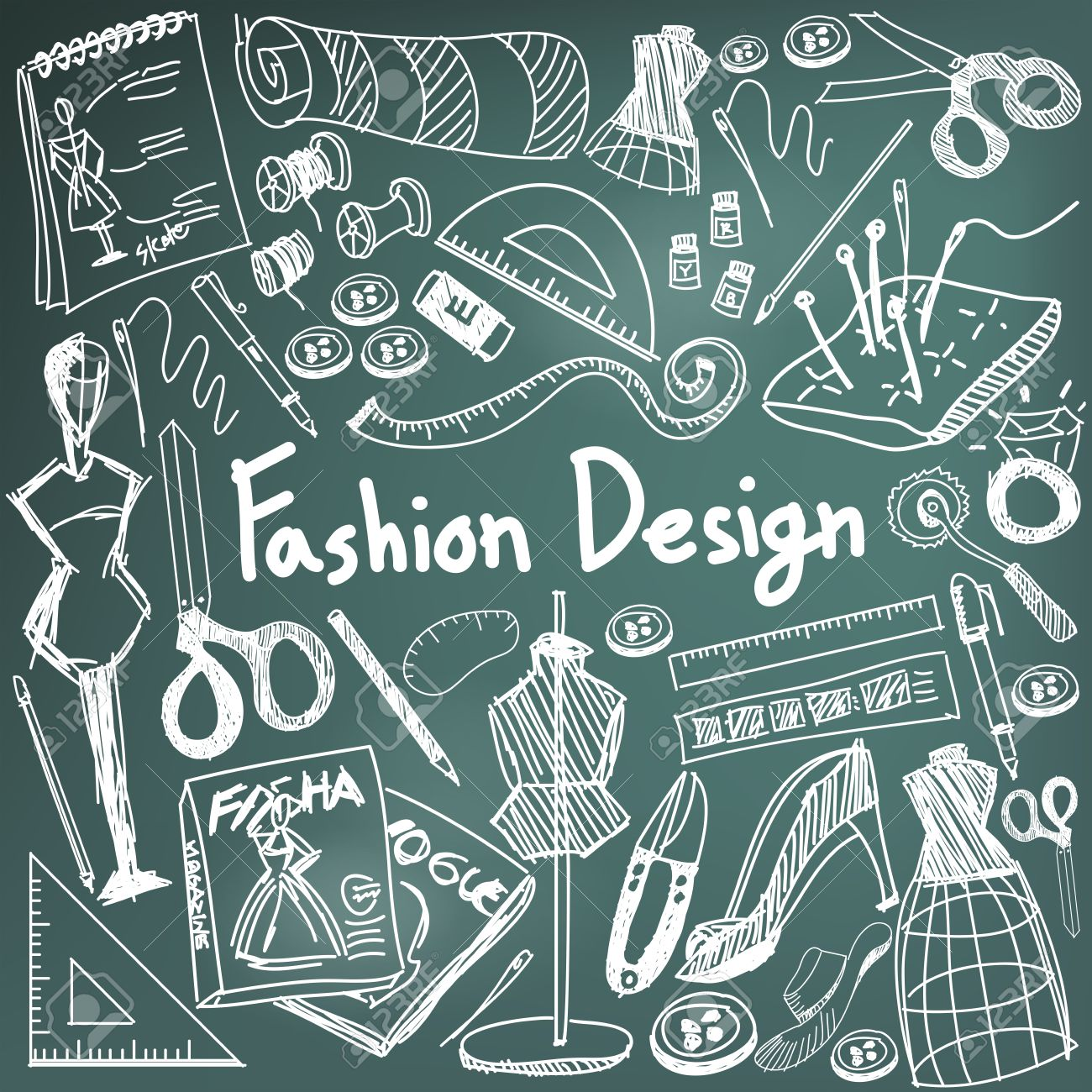 Fashion Design Education Chalk Handwriting Doodle Icon Tool Sign Royalty Free Cliparts Vectors And Stock Illustration Image 52658939