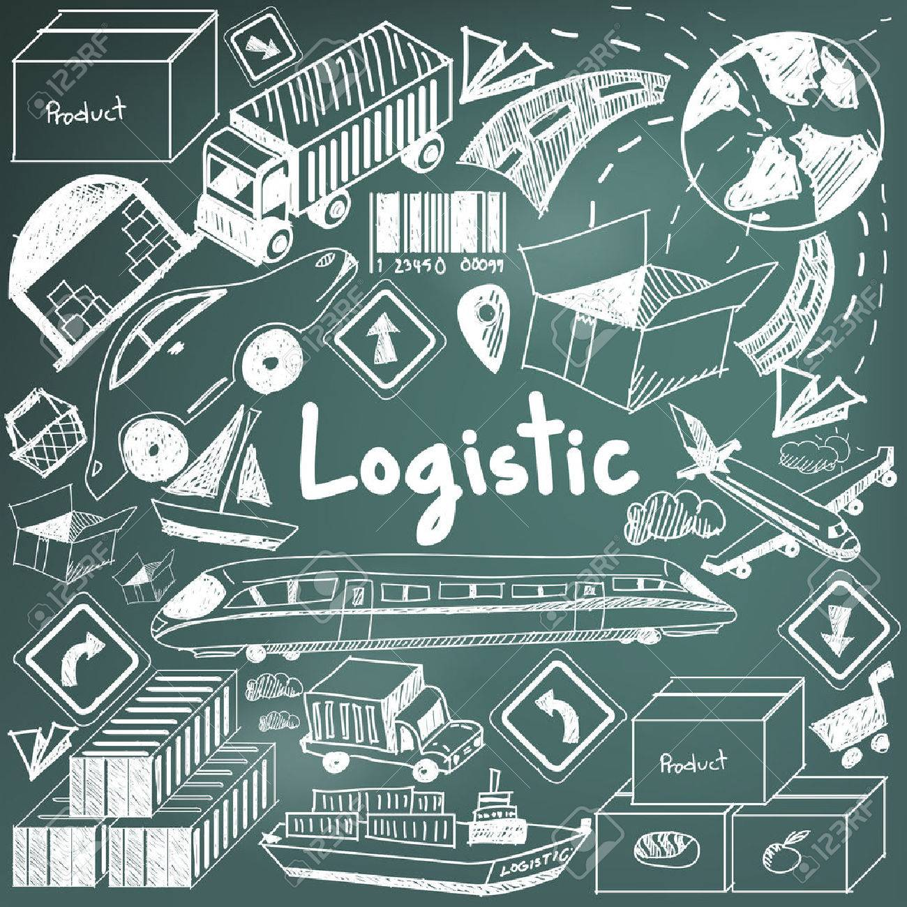 Logistic, transportation, and inventory management chalk handwriting doodle icon cargo object sign and symbol in blackboard background used for business presentation title or university education with header text, create by vector Stock Vector - 52658941