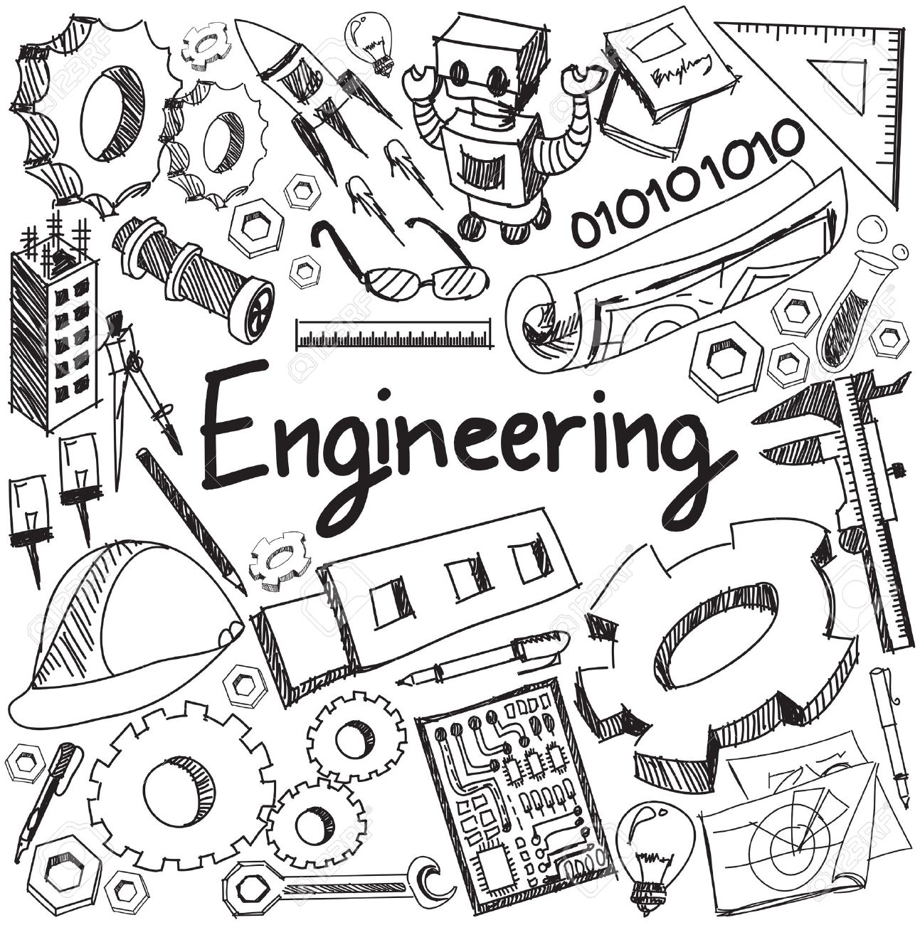 Mechanical, electrical, civil, chemical and other engineering education profession handwriting doodle icon tool sign and symbol in white isolated background paper used for subject or presentation title with header text, create by vector - 52658969
