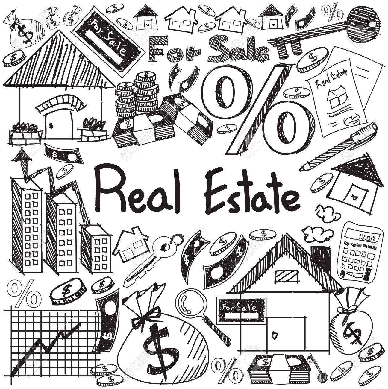 Real Estate Business Industry And Investment Handwriting Doodle Sign