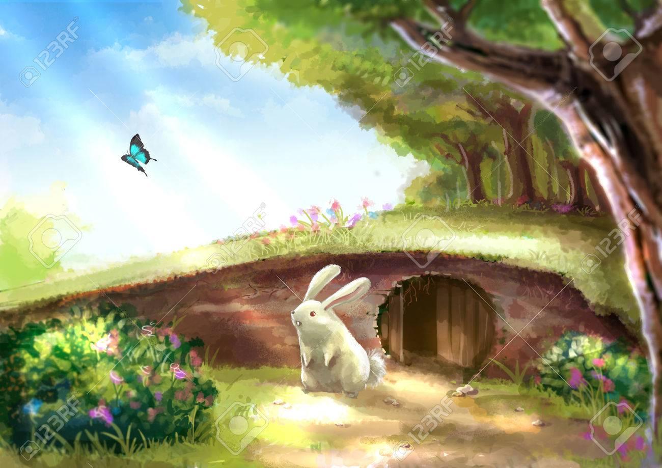Beautiful garden cartoon - Illustration Of Cartoon Cute White Rabbit Bunny Is Standing Near The Rabbit Hole In Beautiful Garden