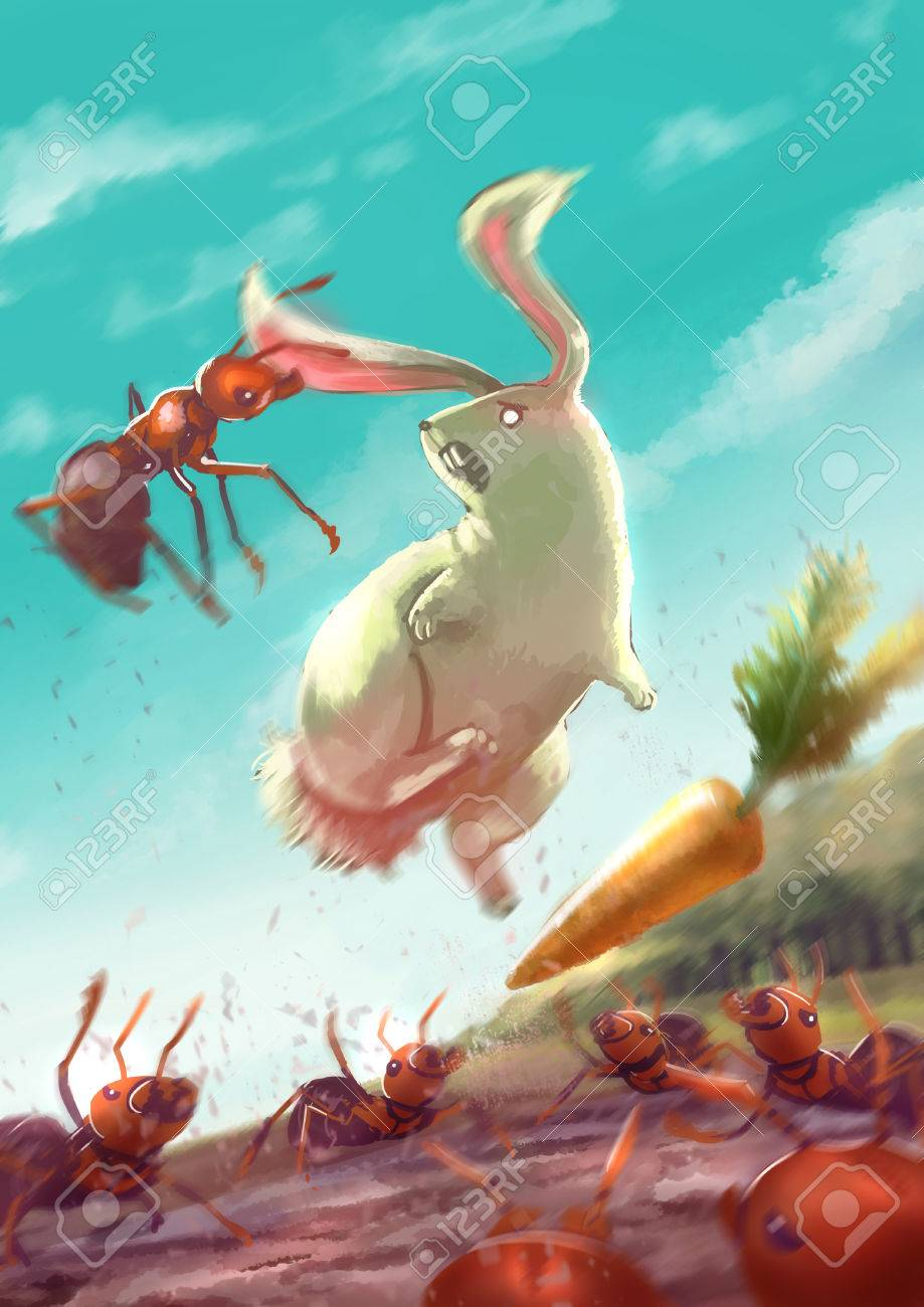 cartoon illustration of group of ants attack a white rabbit by