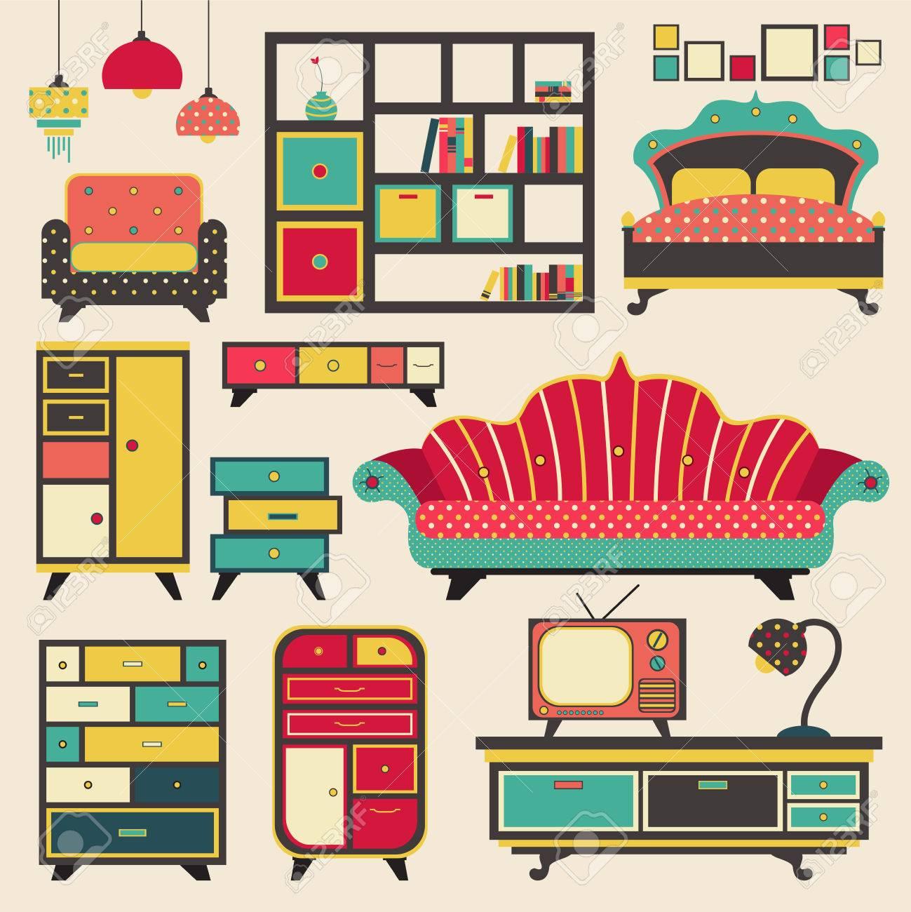 Alte Retro-Haus Gerät Möbel Und Inneneinrichtung Flach Icon Design ...