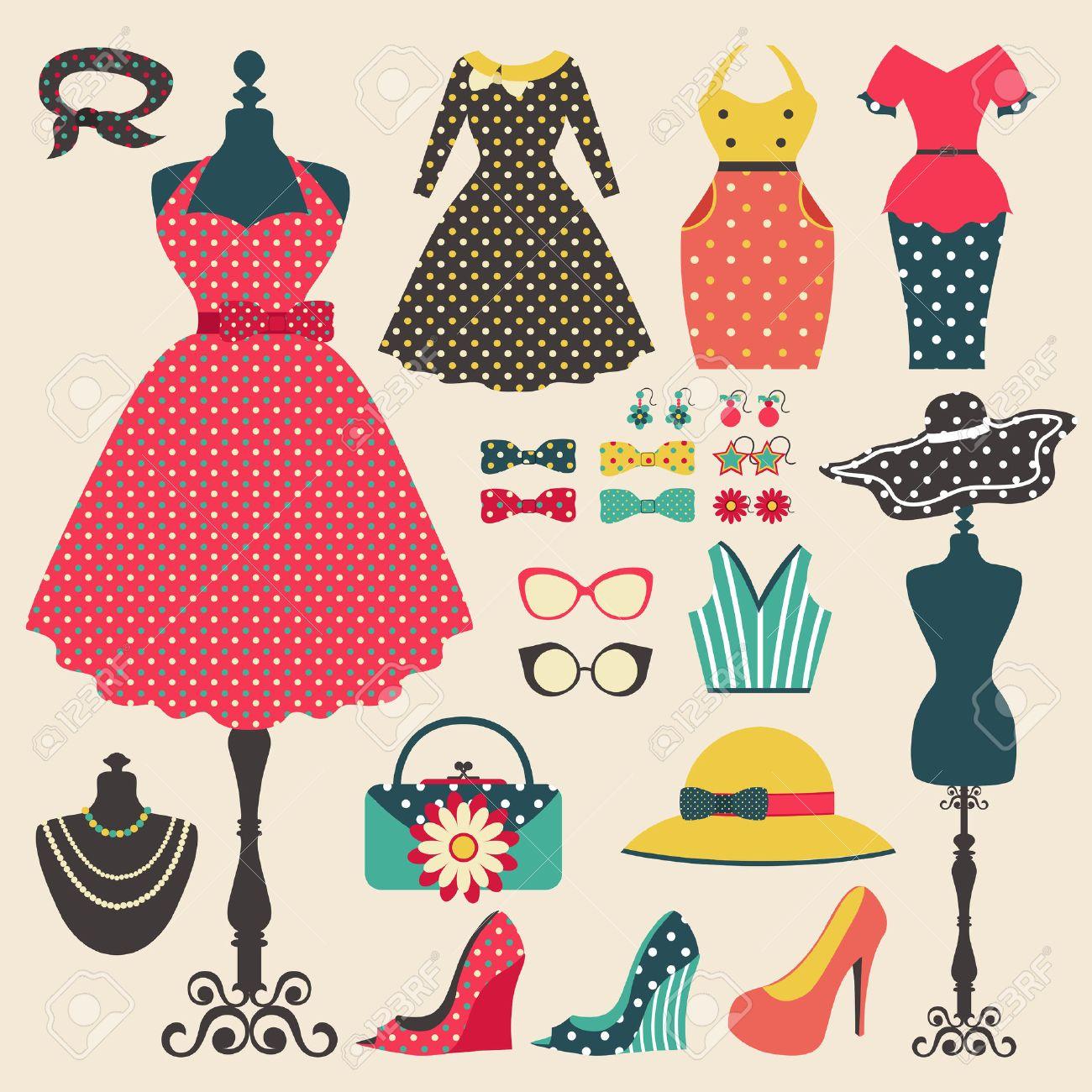 La Ropa Vieja Moda Retro Mujer Prendas De Vestir Y Accesorios Diseño De Iconos Plana En El Estilo De Color Pastel De La Vendimia Crear Por El