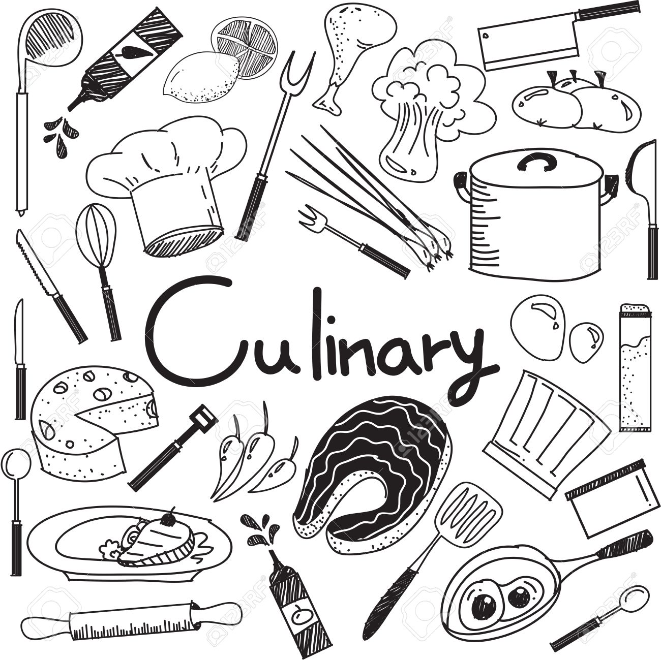 Kitchen tools drawing - Culinary And Cooking Handwriting Doodle Of Food Ingredients And Kitchen Tools Icon In White Isolated Background
