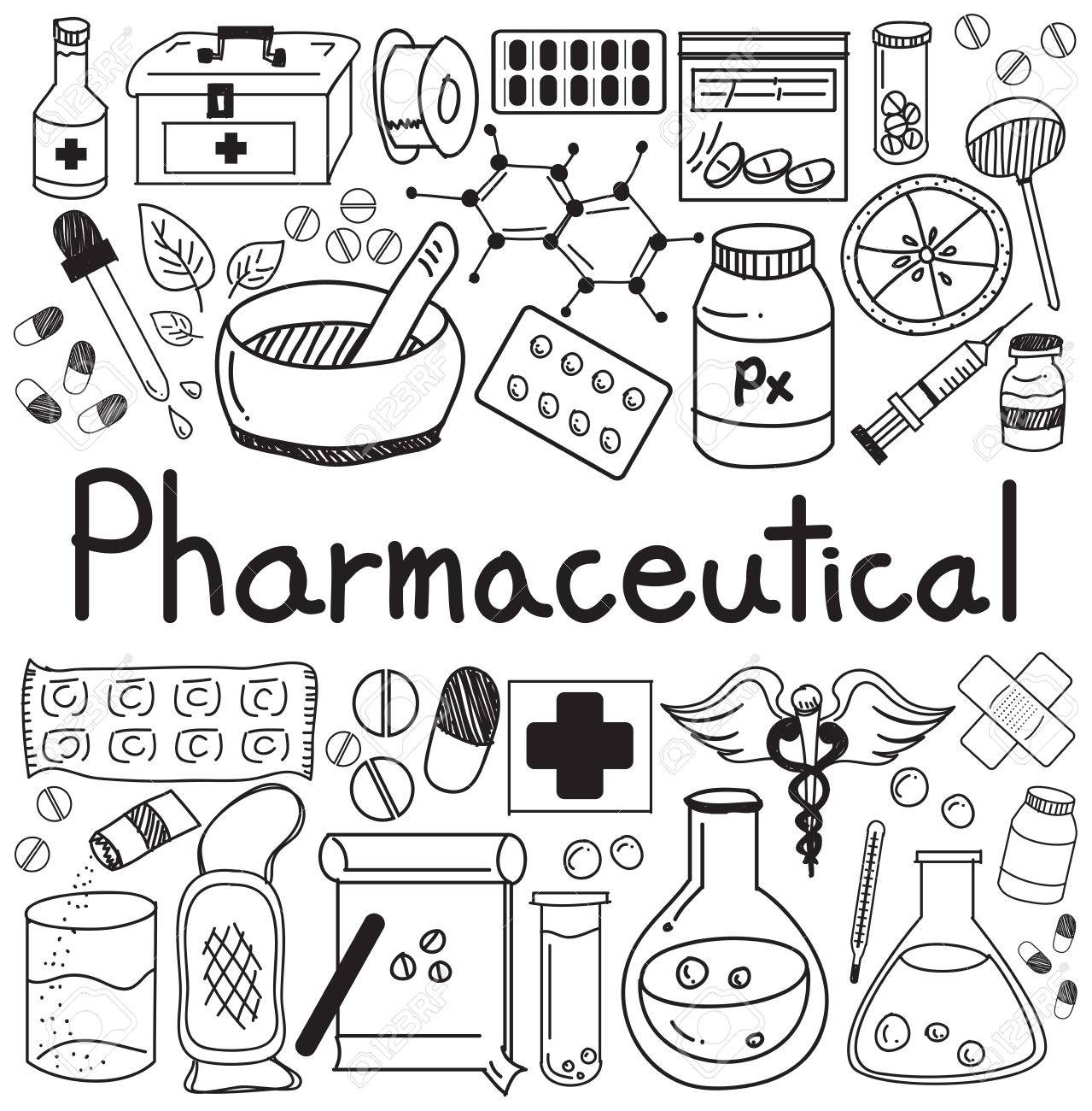 Pharmaceutical and pharmacist doodle handwriting icons of medicines pharmaceutical and pharmacist doodle handwriting icons of medicines tools sign and symbol in white isolated paper buycottarizona Image collections