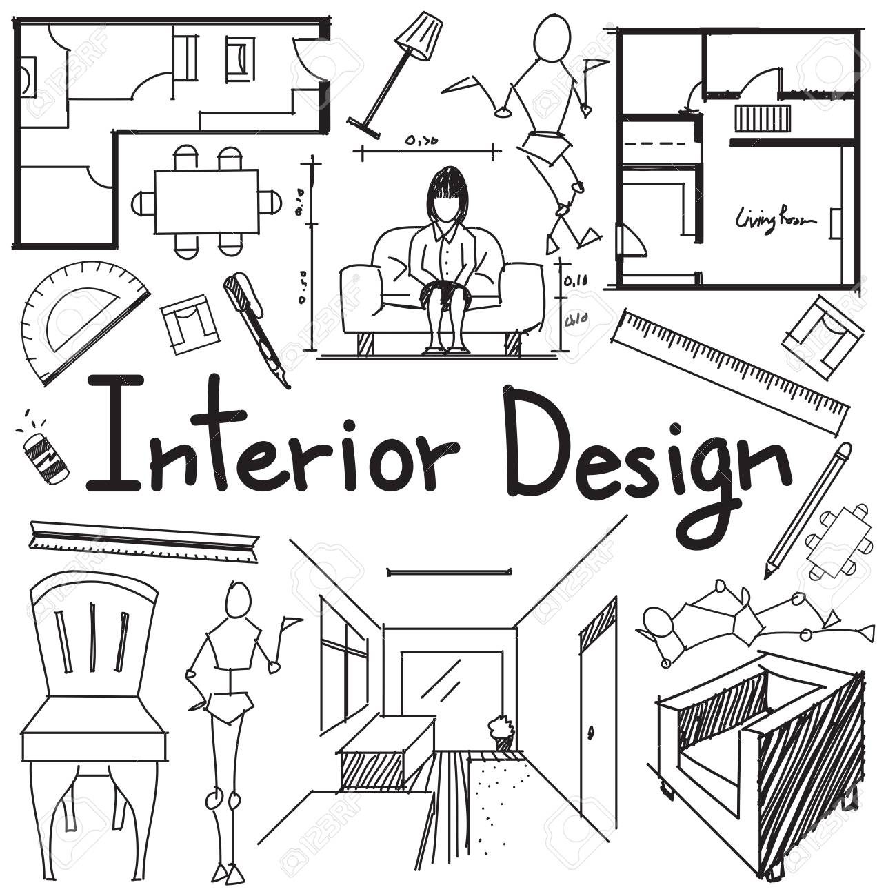 Interior design and building blueprint profession and education interior design and building blueprint profession and education handwriting doodle tool sign and symbol in white malvernweather Gallery