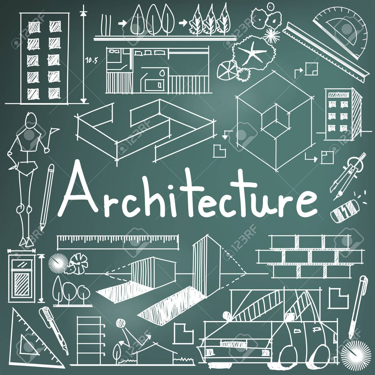 Architecture and architect design profession and building exterior architecture and architect design profession and building exterior blueprint handwriting doodle tool sign and symbol in malvernweather Images