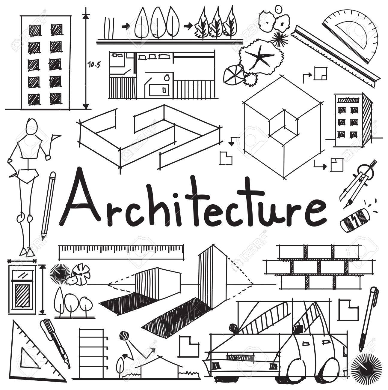Architecture and architect design profession and building exterior blueprint handwriting doodle tool sign and symbol in white isolated background paper for education subject or presentation title, create by vector - 55658897