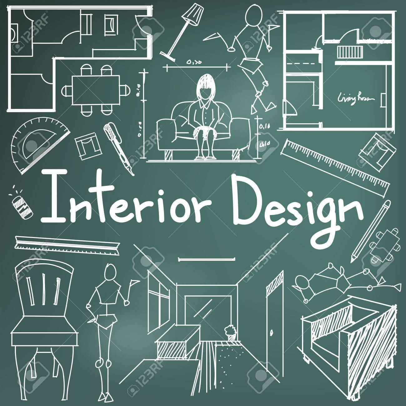 Interior design and building blueprint profession and education interior design and building blueprint profession and education handwriting doodle tool sign and symbol in blackground malvernweather Images