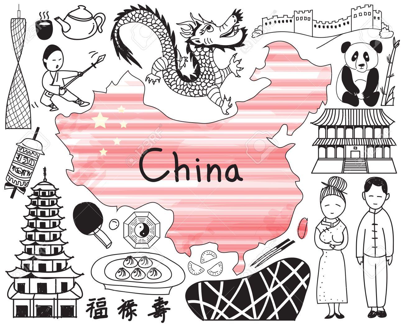 Voyage En Chine Icône De Dessin Doodle Avec La Culture Costume