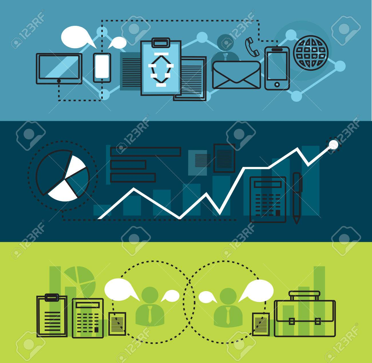 modern network marketing business and office tool flat line design