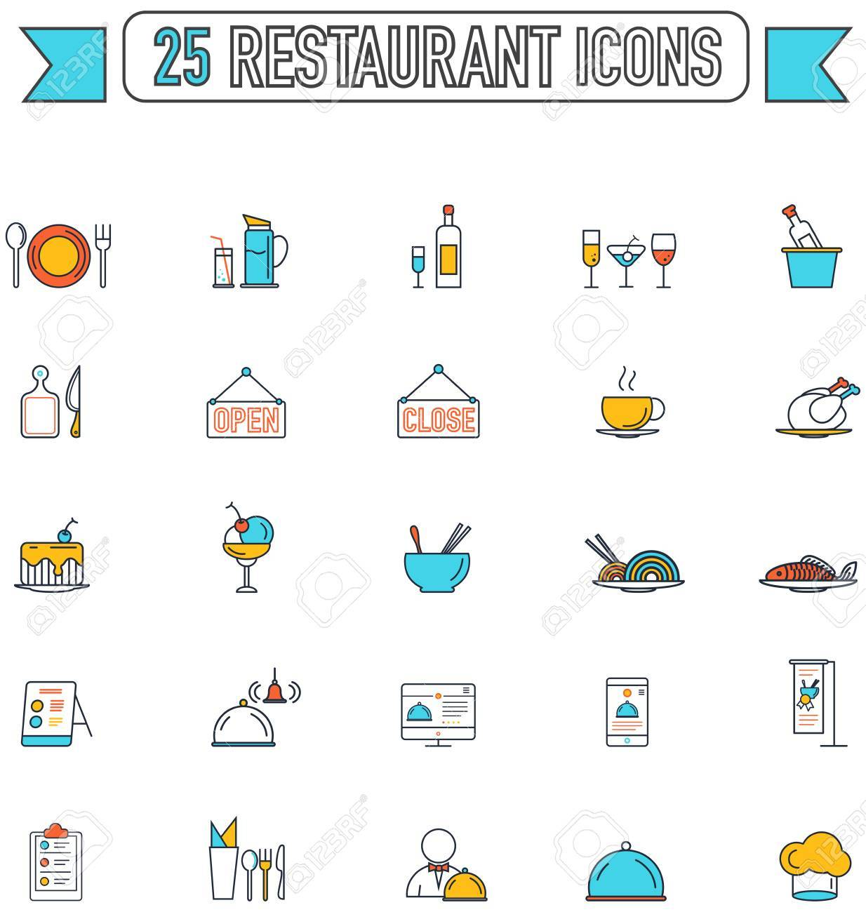 Flat Line Color Food Beverage And Restaurant Graphic Sign And Royalty Free Cliparts Vectors And Stock Illustration Image 60187200