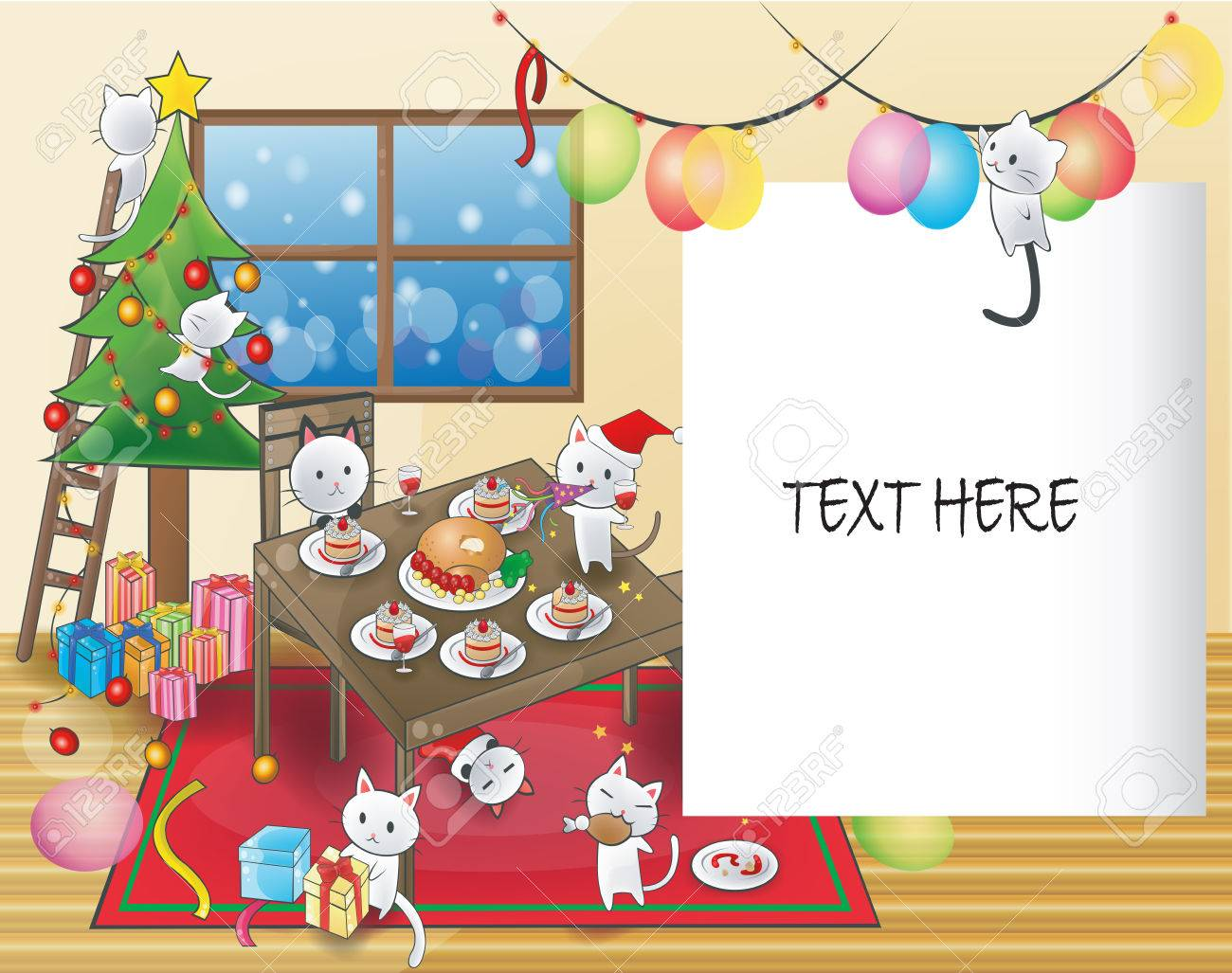 Cute Christmas Party.Cute Cartoon Of Little Kitten Cats Are Celebrating A Christmas