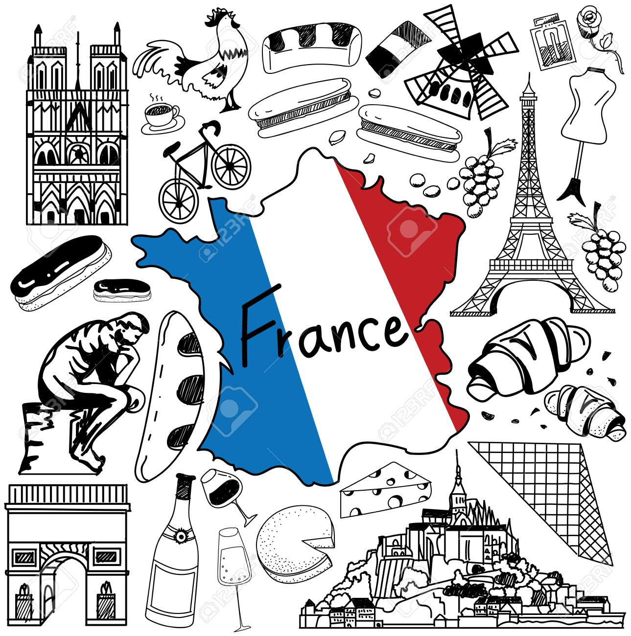 travel to france doodle drawing icon doodle with culture costume