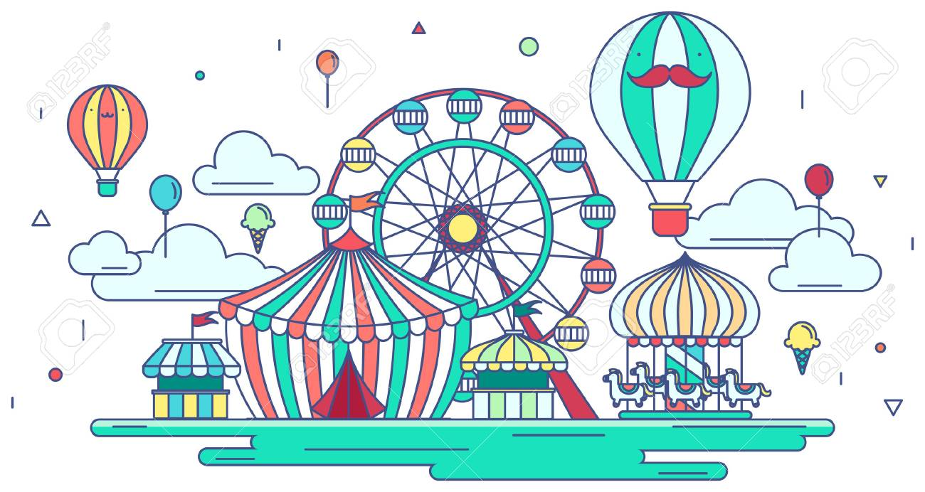 Flat Line Amusement Park Or Theme Park Graphic Design In Creative Royalty Free Cliparts Vectors And Stock Illustration Image 71598546
