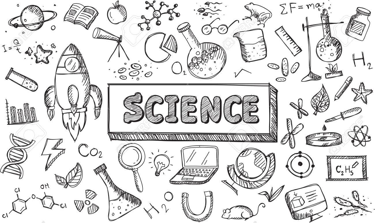 Black And White Sketch Science Chemistry Physics Biology Astronomy Education Subject Doodle Icon Stock