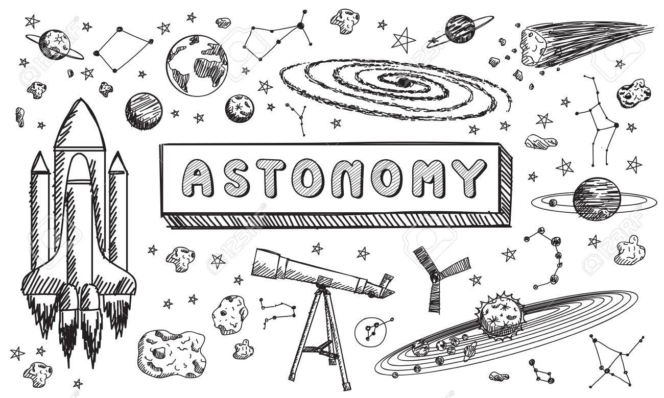 Black And White Sketch Astronomy Science Education Subject Doodle Icon For Presenation Title Or
