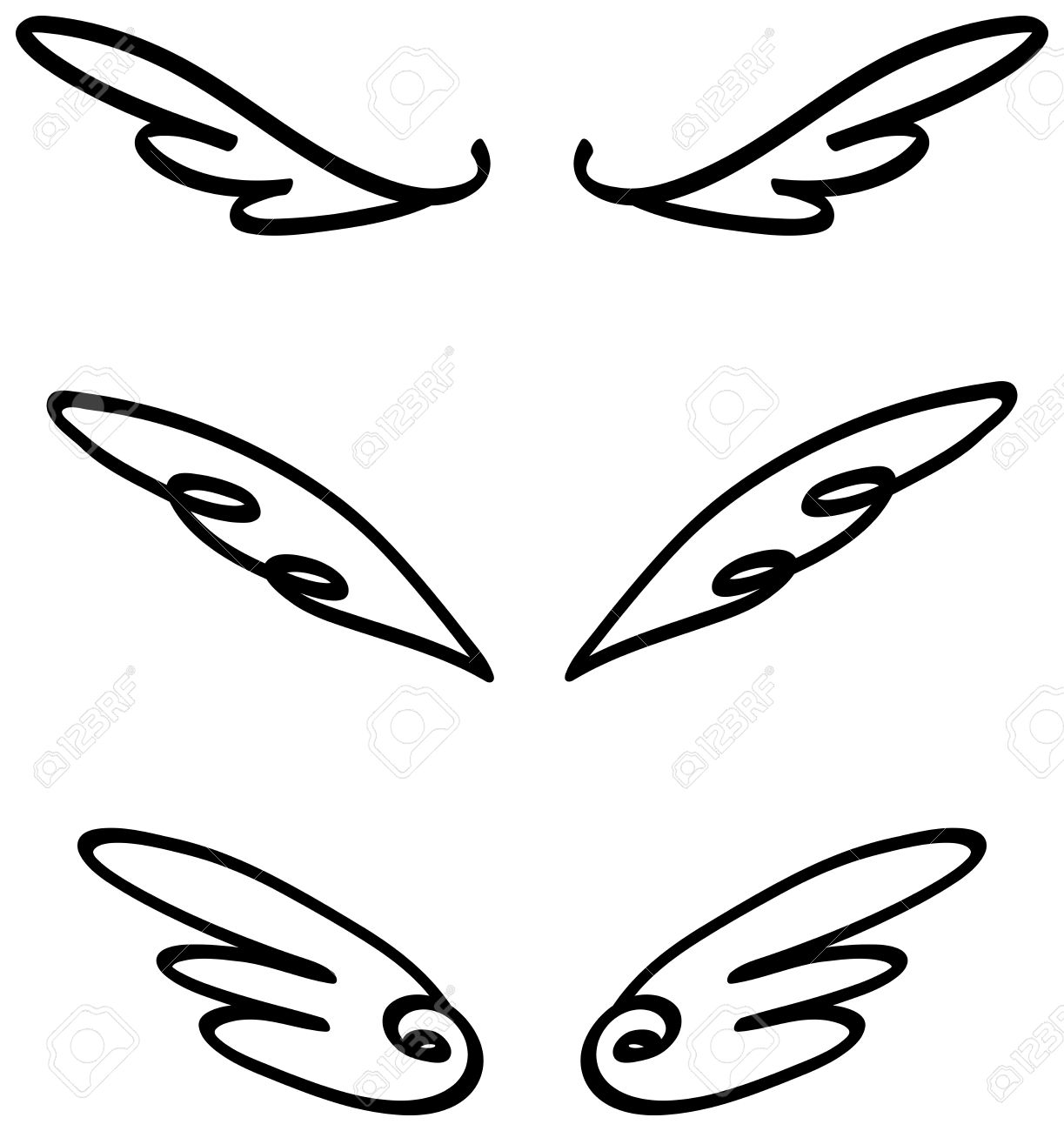 Cartoon Illustration Doodle Of Angel Or Fairy Wings Icon Sketch