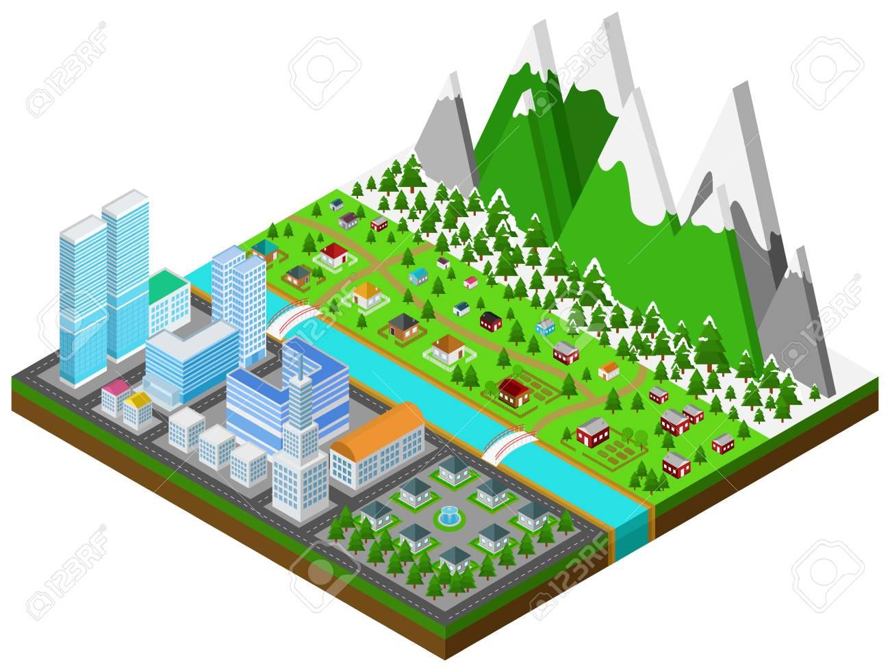 Architettura Del Verde costruzione grafica, immobiliare, casa e architettura del paesaggio urbano  in città separata dalla città naturale della campagna.