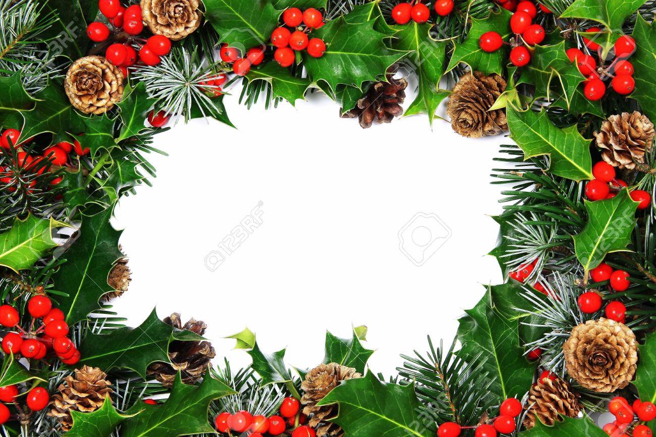 Ein Traditional Weihnachten Stechpalme Rahmen Der Natürlichen ...
