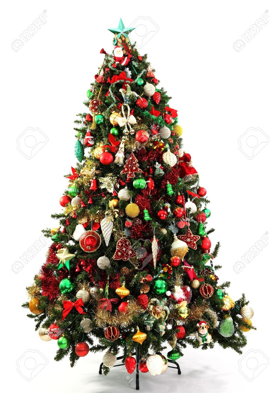 red green and gold decorations in a series of colour themed christmas trees photographed over