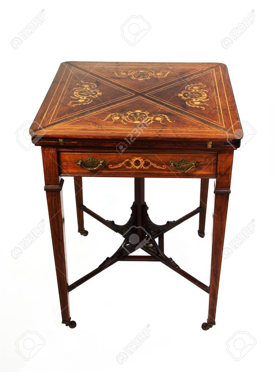 An Antique Inlaid Rosewood Envelope Card Table Photographed Over