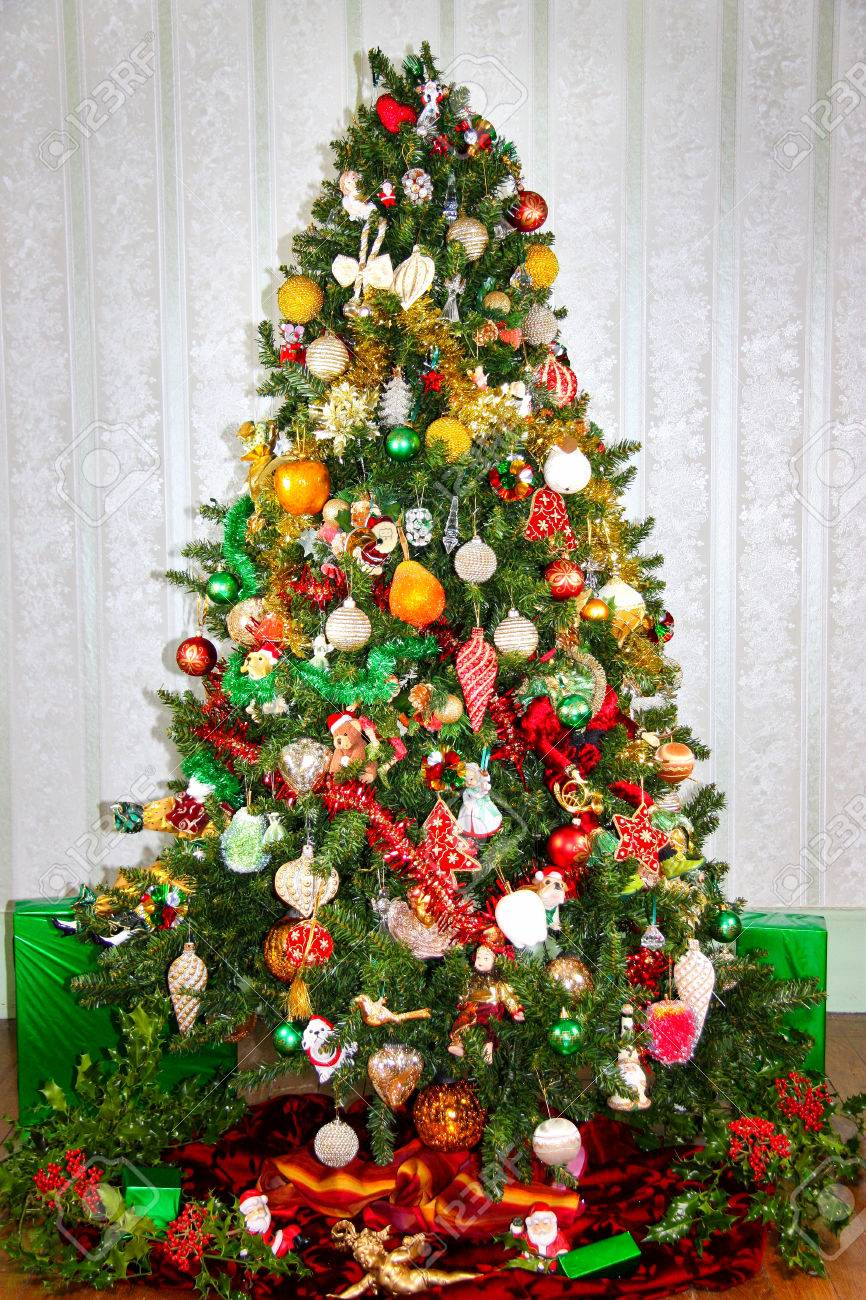 Colorful Red Green And Gold Decorated Christmas Tree With Fresh