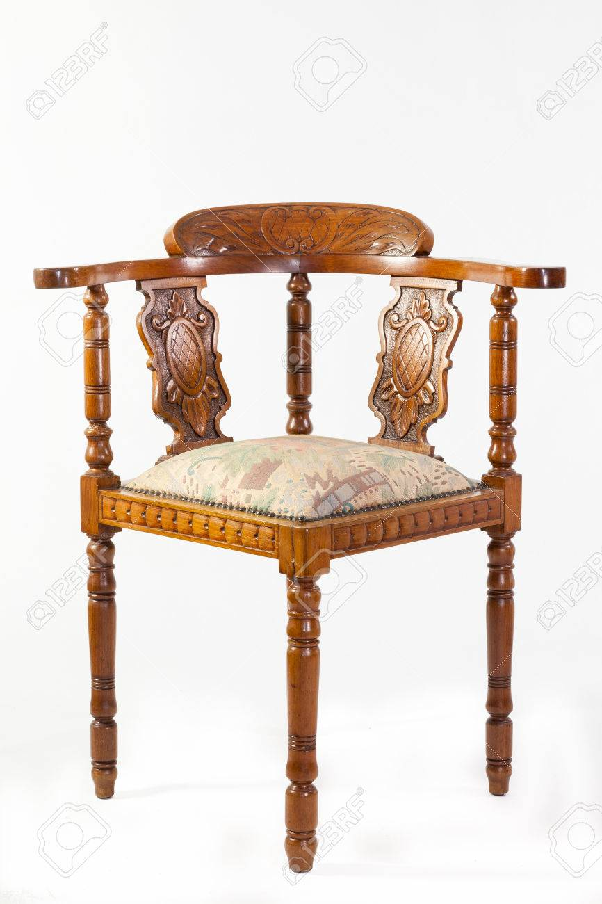 Antique 19th century fruitwood Captains chair or corner chair with an  upholstered seat and handcarved detail - Antique 19th Century Fruitwood Captains Chair Or Corner Chair