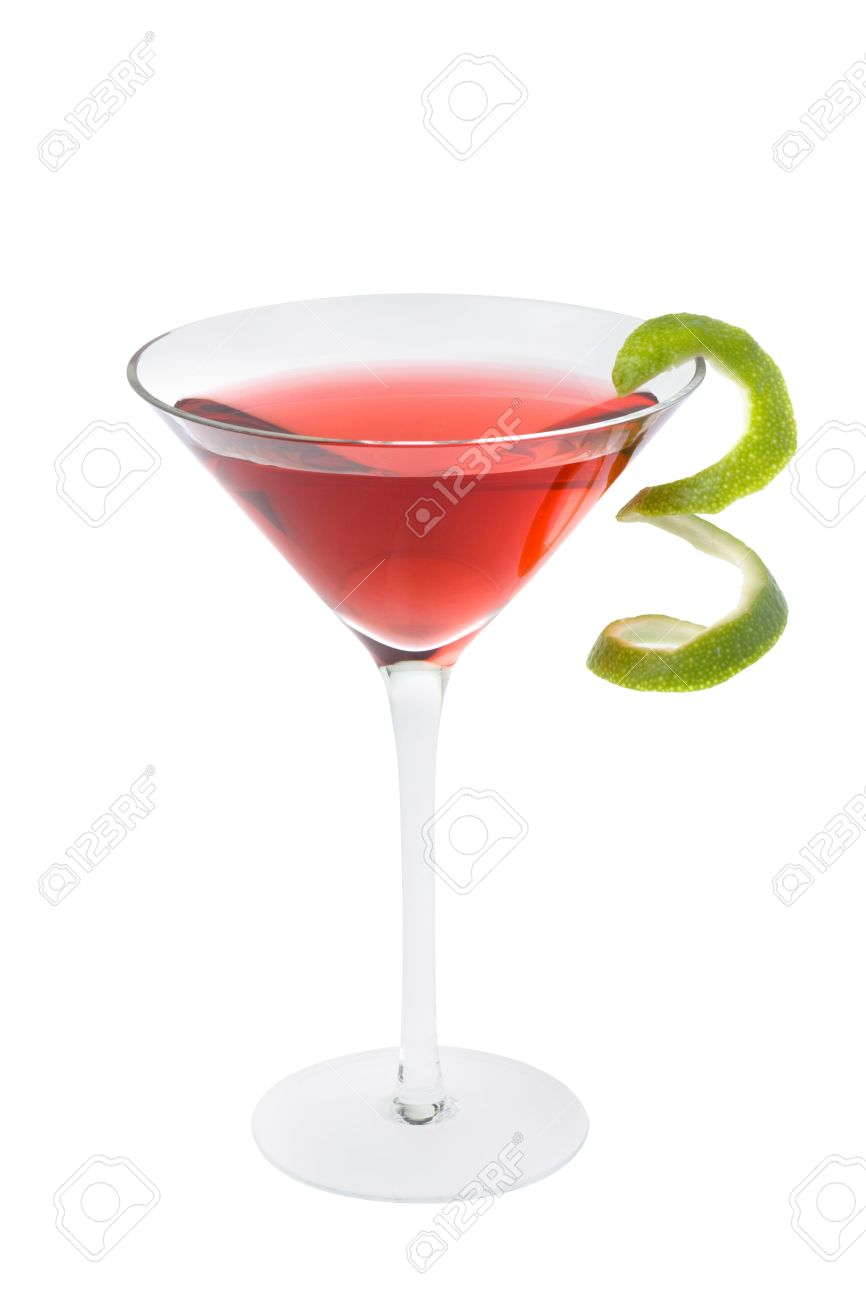 Cosmopolitan mixed drink with lime twist on a white background Stock Photo - 6390233