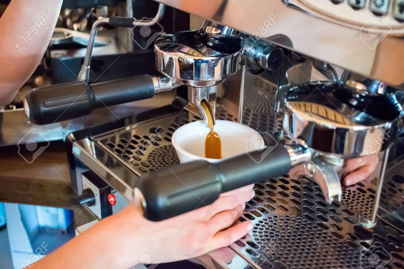 Espresso Machine Making Coffee In Pub Bar Restaurant