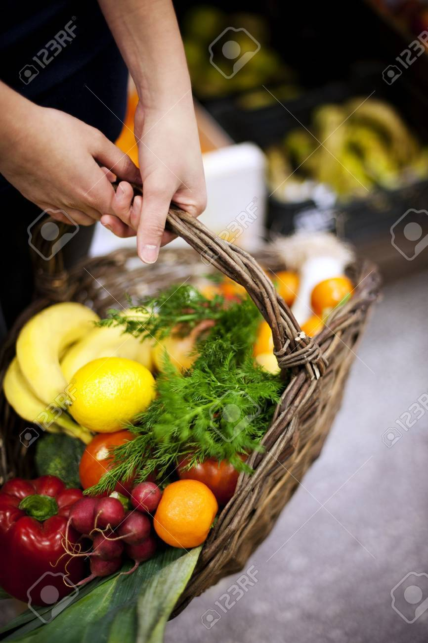 Basket filled healthy food Stock Photo - 18134903