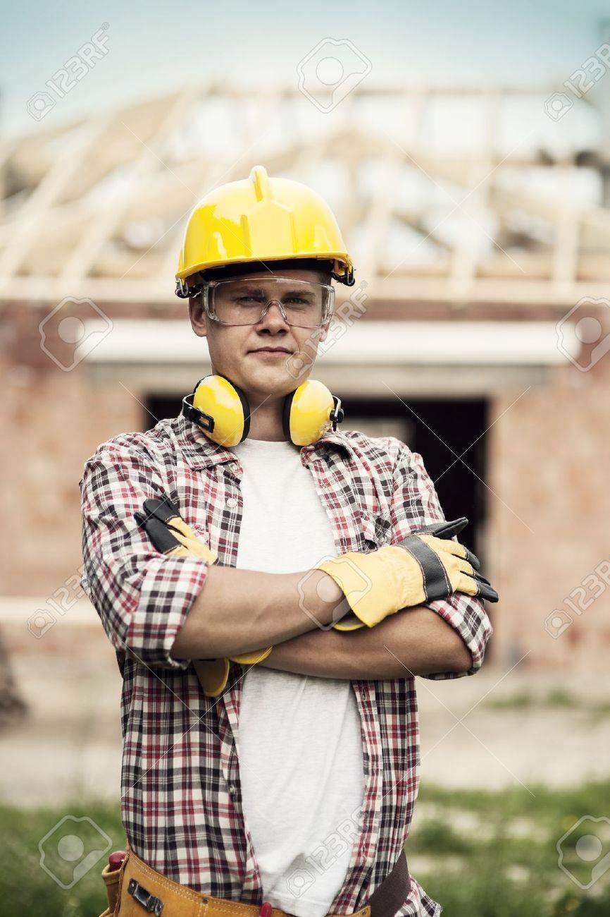 Portrait of construction worker Stock Photo - 18184896