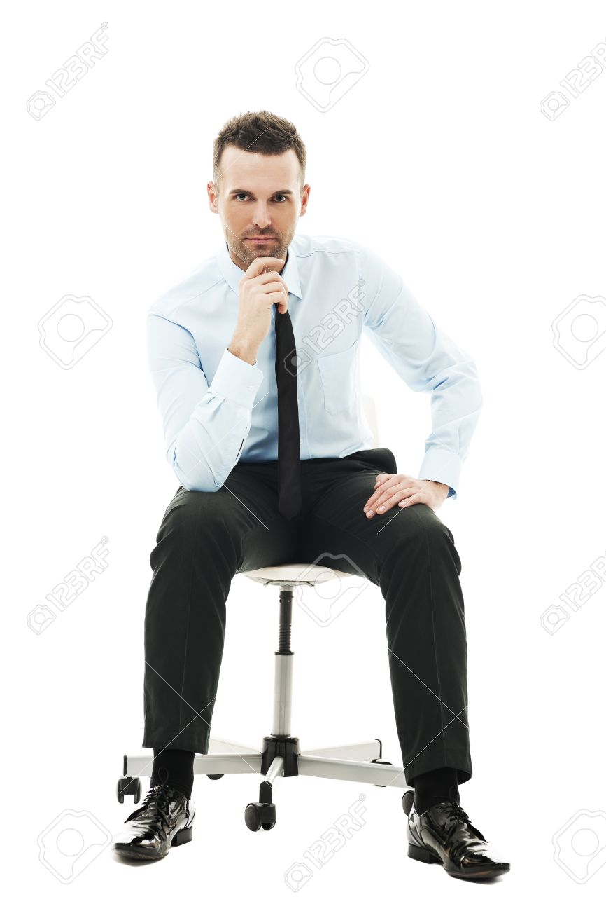 Pensive businessman sitting on chair Stock Photo - 18190711  sc 1 st  123RF.com & Pensive Businessman Sitting On Chair Stock Photo Picture And ...