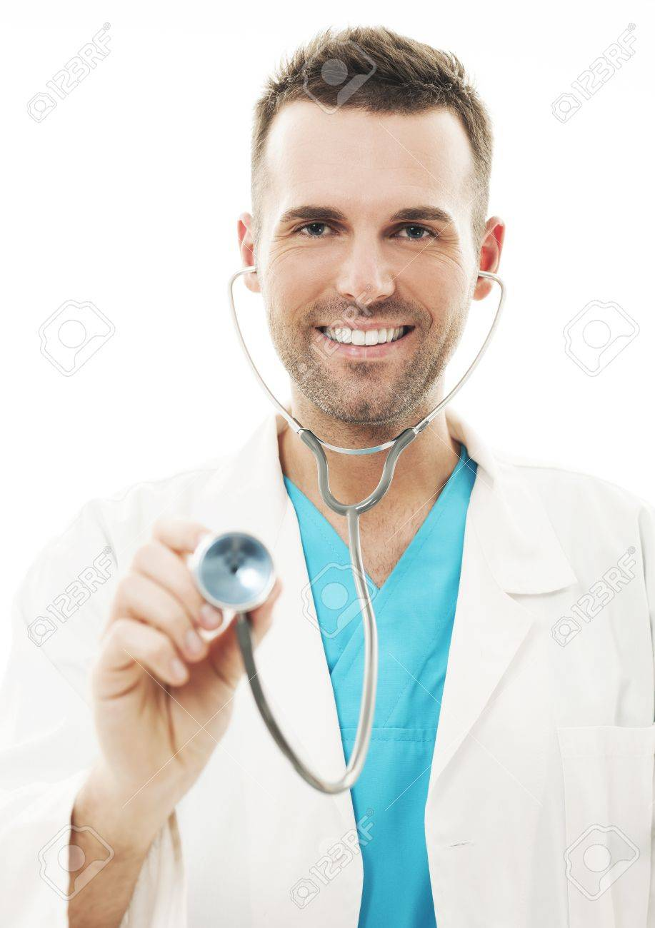 Cheerful doctor with stethoscope Stock Photo - 18190808